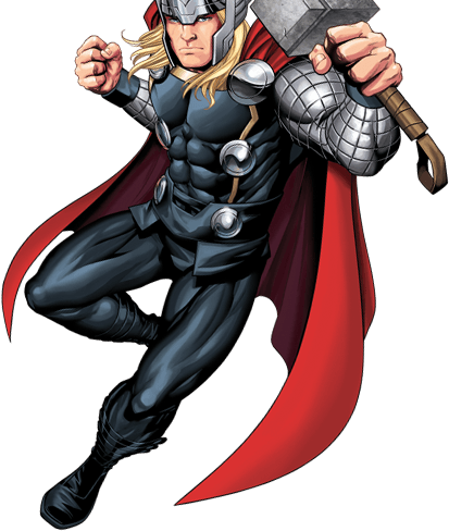 Colored drawing of Thor flying with his hammer