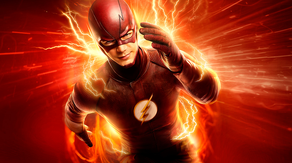 Grant Gustin's Flash running with lightning surrounding him