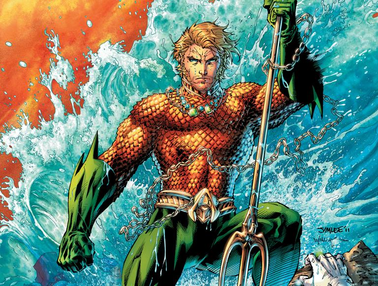 Comic book Aquaman surrounded by water while weilding trident