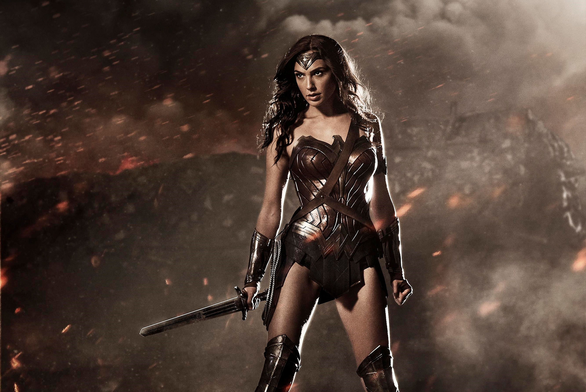 Gal Godat's Wonder Woman standing on battlefield